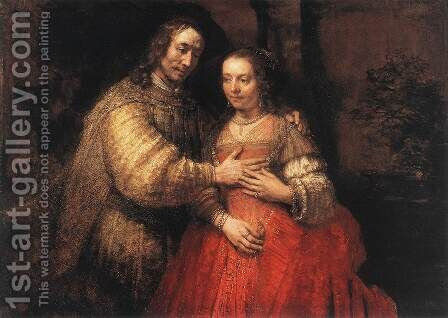 The Jewish Bride c. 1665 by Rembrandt - Reproduction Oil Painting