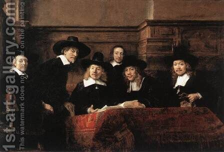 Sampling Officials of the Drapers' Guild 1662 by Rembrandt - Reproduction Oil Painting
