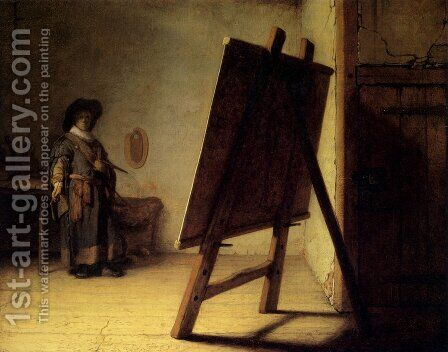 The Artist in his Studio 1626-28 by Rembrandt - Reproduction Oil Painting