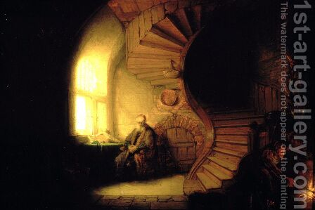 Philosopher in Meditation 1632 by Rembrandt - Reproduction Oil Painting