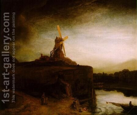 The Mill c. 1650 by Rembrandt - Reproduction Oil Painting