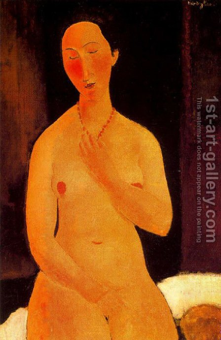 Seated Nude With Necklace by Amedeo Modigliani - Reproduction Oil Painting
