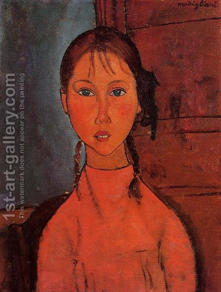 Girl With Braids by Amedeo Modigliani - Reproduction Oil Painting