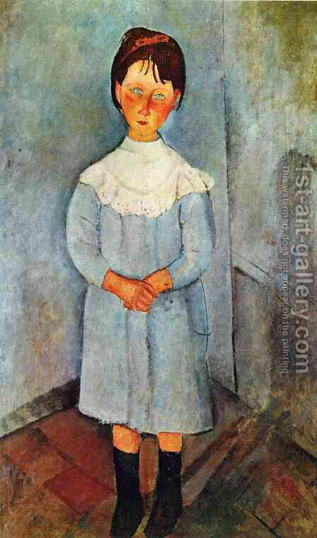 Little Girl In Blue by Amedeo Modigliani - Reproduction Oil Painting