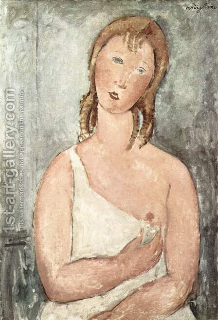 Girl In A White Chemise by Amedeo Modigliani - Reproduction Oil Painting