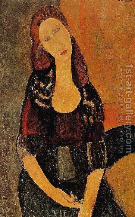 Portrait Of Jeanne Hebuterne   Common Law Wife Of Amedeo Modigliani 1920 by Amedeo Modigliani - Reproduction Oil Painting