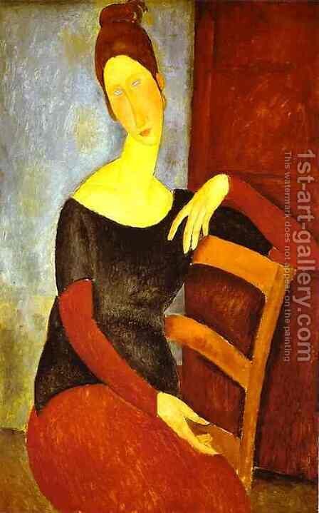 Portrait Of Jeanne Hebuterne   Common Law Wife Of Amedeo Modigliani Ii by Amedeo Modigliani - Reproduction Oil Painting
