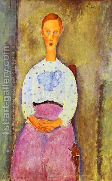 Jeaune Fille Au Corsage A Pois by Amedeo Modigliani - Reproduction Oil Painting