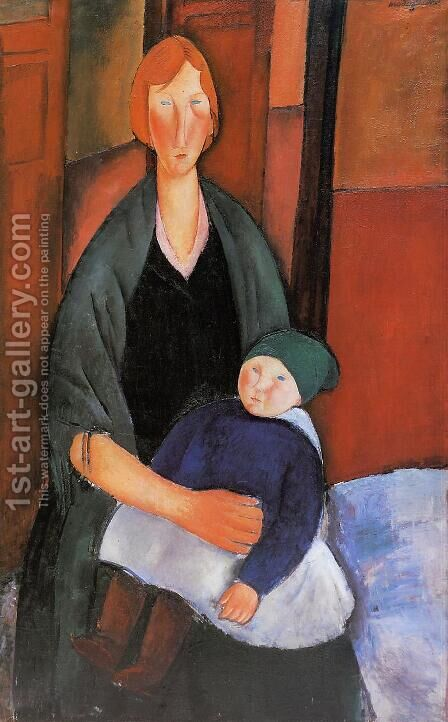 Seated Woman With Child by Amedeo Modigliani - Reproduction Oil Painting