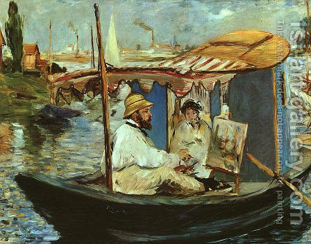 Claude Monet Working on his Boat in Argenteuil  1874 by Edouard Manet - Reproduction Oil Painting