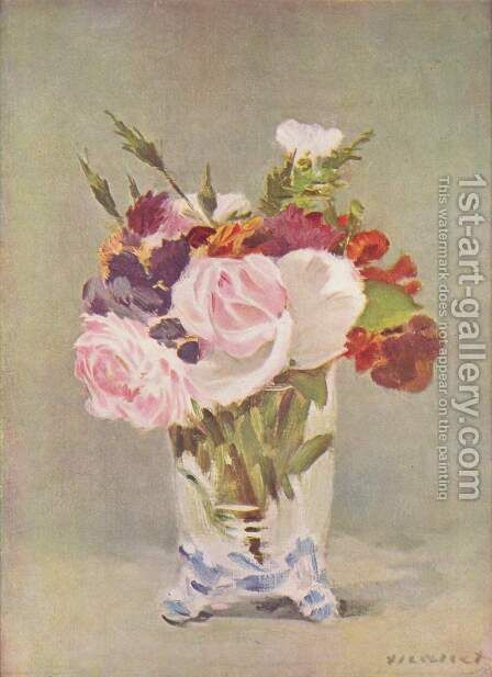 Flowers In A Crystal Vase I by Edouard Manet - Reproduction Oil Painting