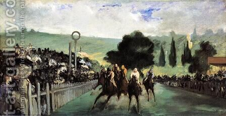 Racetrack Near Paris  1864 by Edouard Manet - Reproduction Oil Painting