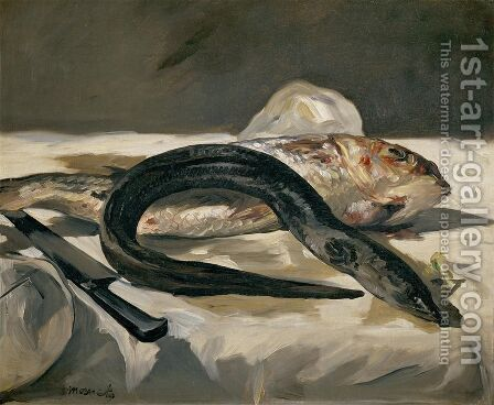 Still Life With Eel And Red Muller by Edouard Manet - Reproduction Oil Painting