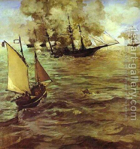 The Battle Of The Kearsarge And The Alabama by Edouard Manet - Reproduction Oil Painting