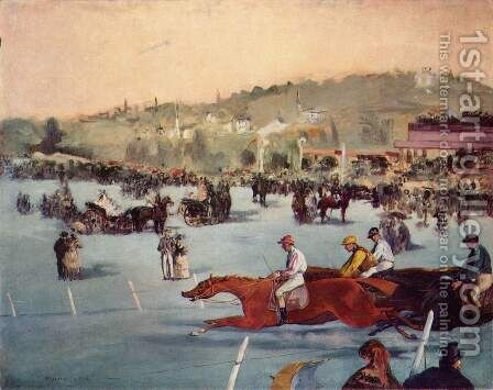 Racecourse In The Bois De Boulogne by Edouard Manet - Reproduction Oil Painting