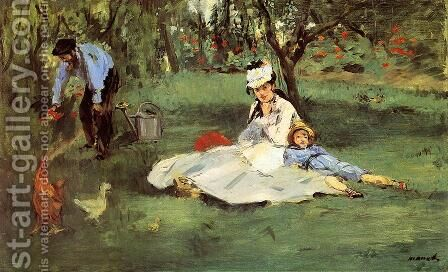 The Monet Family In The Garden by Edouard Manet - Reproduction Oil Painting