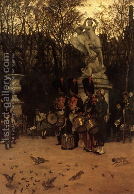 Beating The Retreat In The Tuileries Gardens by James Jacques Joseph Tissot - Reproduction Oil Painting