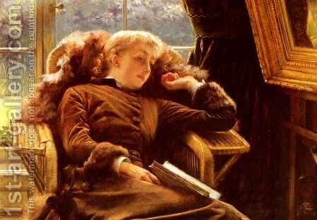 Kathleen Newton In An Armchair by James Jacques Joseph Tissot - Reproduction Oil Painting