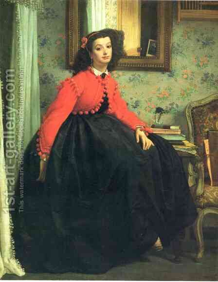 Portrait of Mademoiselle L.L. (Young Woman in a Red Jacket)  1864 by James Jacques Joseph Tissot - Reproduction Oil Painting