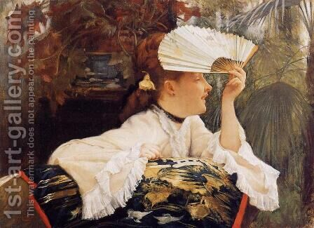The Fan by James Jacques Joseph Tissot - Reproduction Oil Painting