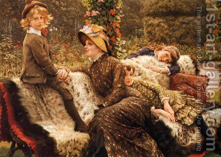 The Garden Bench by James Jacques Joseph Tissot - Reproduction Oil Painting