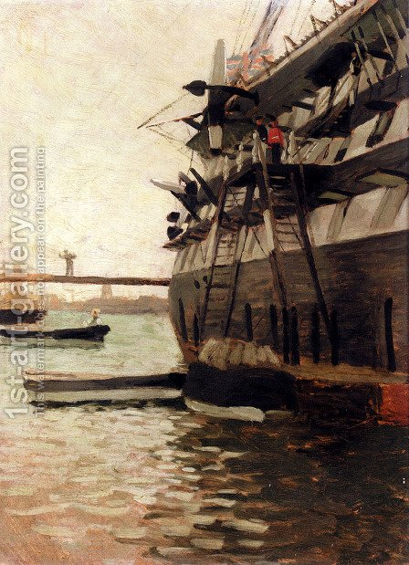 The Hull Of A Battle Ship by James Jacques Joseph Tissot - Reproduction Oil Painting