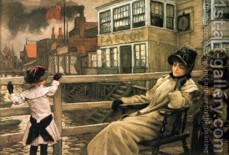 Waiting For The Ferry 1878 by James Jacques Joseph Tissot - Reproduction Oil Painting