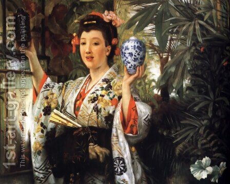 Young Lady Holding Japanese Objects by James Jacques Joseph Tissot - Reproduction Oil Painting