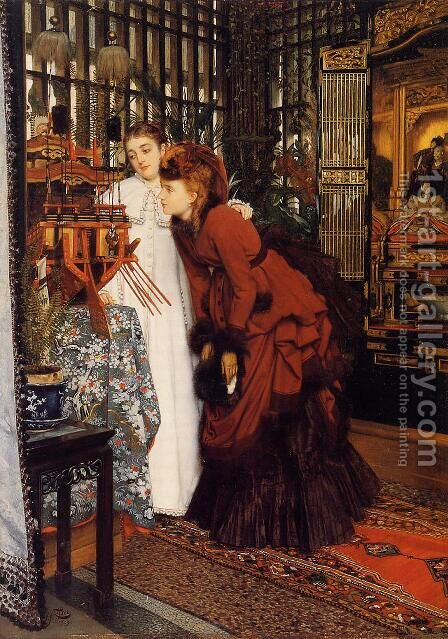 Young Women Looking At Japanese Objects by James Jacques Joseph Tissot - Reproduction Oil Painting