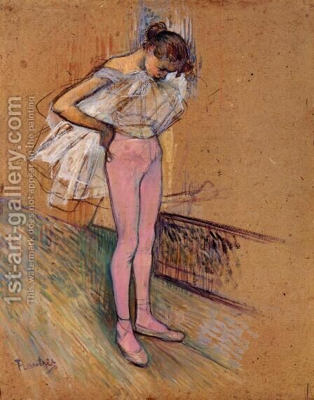 Dancer Adjusting Her Tights by Toulouse-Lautrec - Reproduction Oil Painting