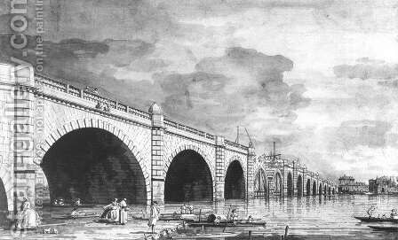 London   Westminster Bridge Under Repair by (Giovanni Antonio Canal) Canaletto - Reproduction Oil Painting