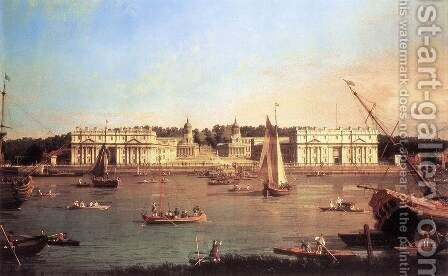 London Greenwich Hospital From The North Bank Of The Thames by (Giovanni Antonio Canal) Canaletto - Reproduction Oil Painting