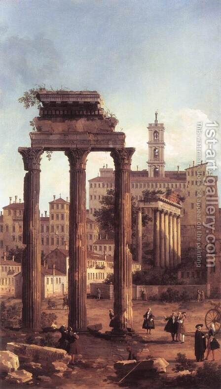 Rome   Ruins Of The Forum Looking Towards The Capitol by (Giovanni Antonio Canal) Canaletto - Reproduction Oil Painting