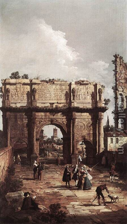 Rome The Arch Of Constantine by (Giovanni Antonio Canal) Canaletto - Reproduction Oil Painting