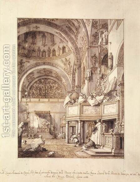 San Marco   The Crossing And North Transept With Musicians Singing by (Giovanni Antonio Canal) Canaletto - Reproduction Oil Painting