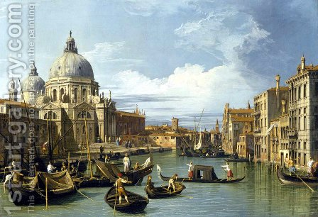 The Grand Canal And The Church Of The Salute by (Giovanni Antonio Canal) Canaletto - Reproduction Oil Painting