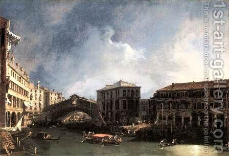 The Grand Canal Near The Ponte Di Rialto by (Giovanni Antonio Canal) Canaletto - Reproduction Oil Painting