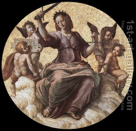 The Stanza Della Segnatura Ceiling  Justice by Raphael - Reproduction Oil Painting