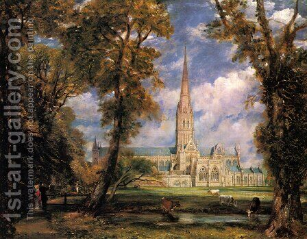 Salisbury Cathedral from the Bishop's Grounds c. 1825 by John Constable - Reproduction Oil Painting