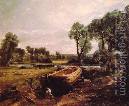 Boat-Building on the Stour 1814-15 by John Constable - Reproduction Oil Painting
