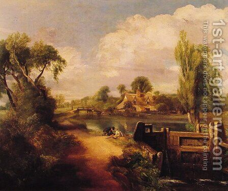 Landscape With Boys Fishing by John Constable - Reproduction Oil Painting