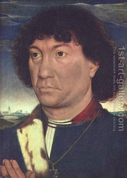 Portrait of a Man at Prayer before a Landscape c. 1480 by Hans Memling - Reproduction Oil Painting