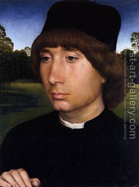 Portrait of a Young Man before a Landscape c. 1480 by Hans Memling - Reproduction Oil Painting