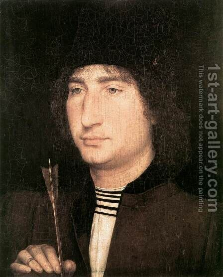 Portrait of a Man with an Arrow 1478-80 by Hans Memling - Reproduction Oil Painting