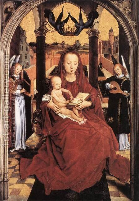 Virgin And Child Enthroned With Two Musical Angels by Hans Memling - Reproduction Oil Painting
