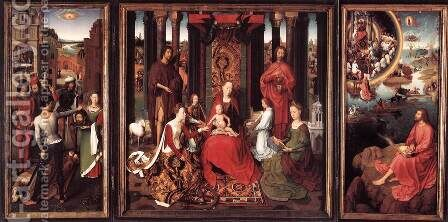 St John Altarpiece 1474-79 by Hans Memling - Reproduction Oil Painting