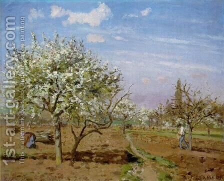 Orchard In Bloom At Louveciennes by Camille Pissarro - Reproduction Oil Painting