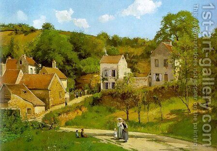 The Hermitage at Pontoise 1867 by Camille Pissarro - Reproduction Oil Painting