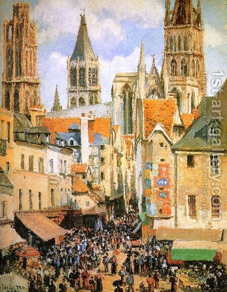 The Old Market at Rouen  1898 by Camille Pissarro - Reproduction Oil Painting