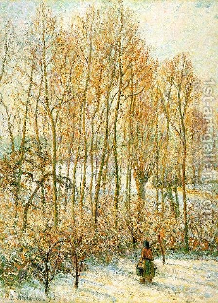 Morning Sunlight on the Snow, Eragny-Sur-Epte 1895 by Camille Pissarro - Reproduction Oil Painting